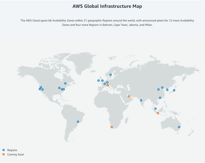 AWS reach map